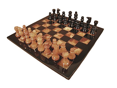 Black & Amber Alabaster Chess Set (Chess Board Alabaster)