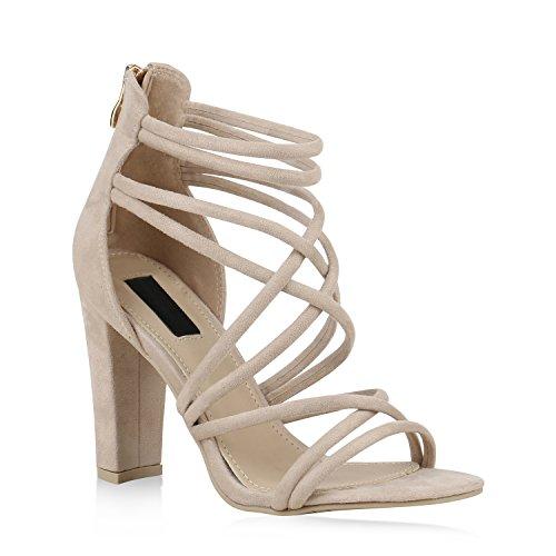 Stiefelparadies Damen Riemchensandaletten Metallic Schuhe Fransen Nieten Lack Sandaletten Sandal Boots Schaftsandaletten Velours Denim Samt Flandell Creme