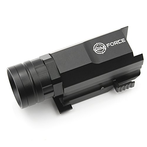 AIM FORCE Tactical Gun Flashlight, 300 Lumens Pistol/Rifle Light with Strobe, Compact Rail Mount for a Weapon with a Quick Release - Two Batteries and Compact Box Included in the Price