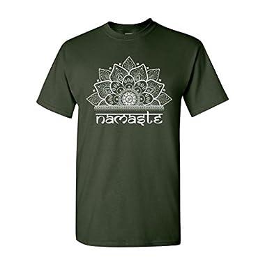 Namaste Namaskar Om Aum Sanskrit Hindu Greetings Funny Humor DT Adult T-Shirt Tee (X Large, Forest Green)