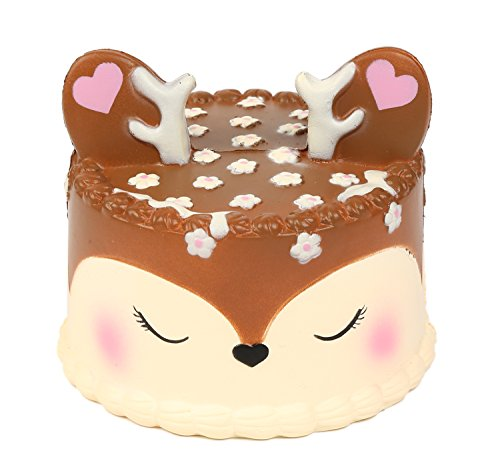 AOLIGE Squishies Slow Rising Jumbo Kawaii Cute Deer Cake Creamy Scent for Kids Party Toys Stress Reliever Toy -