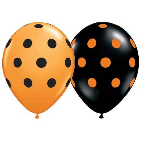 Polka Dot Balloons 11inch Premium Black and Orange with All-Over Print Orange and Black Dots (Orange Polka Dot Balloons)
