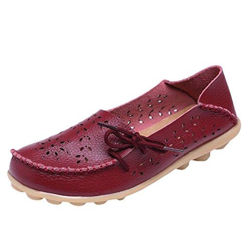 Vogstyle - Zapatillas de casa Mujer Estilo 2-Vino rojo
