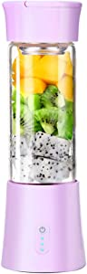 Rechargable Electric Portable Juicer Blender for Handmade Fruit or Vegetable Smoothie (Purple)