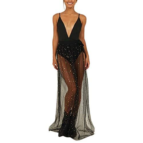 Women's Sexy Skirt,Tulle Sheer High Waist Cutout A Line Mesh Skirt Maxi Dress (M, Black) ()