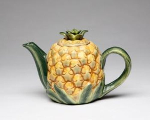 Yellow Pineapple Shape Design with Leaves Teapot Collectible by Cg