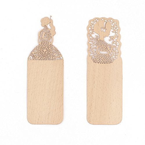 DealMux Wooden Book Bookstore Girl Patten Hollow Design Paper Clip Bookmark 2pcs Light Brown