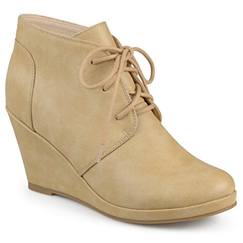 Journee Collection Womens Lace-up Faux Leather Vegan Round Toe Lace-up Wedge Booties Tan 2UBqv