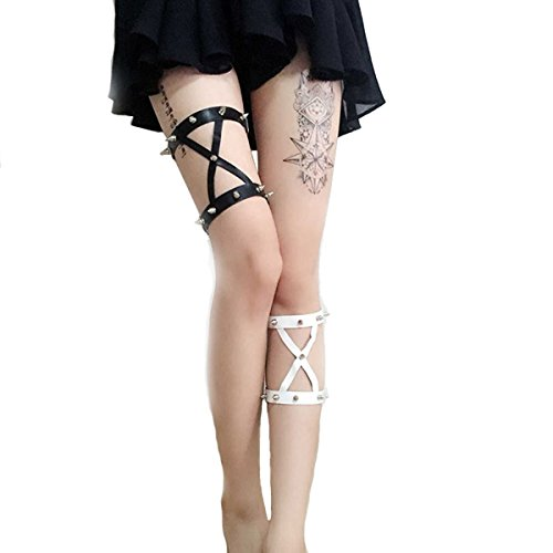 NE Norboe Women's Sexy Goth Leather Garter Belt Double Rivet Studded Leather Heart Leg Garter Belt (Black+White)