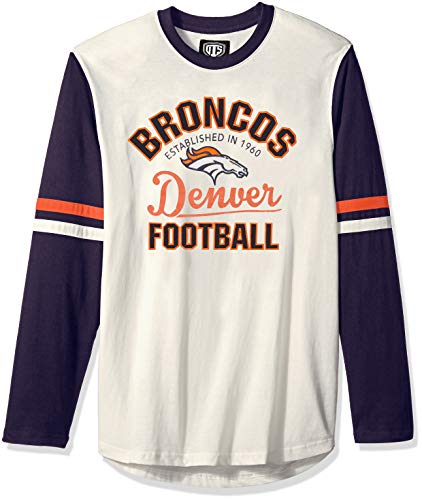 NFL Denver Broncos Male OTS Chisel Long sleeve Crew Tee, Cream, X-Large (Broncos Football Jerseys For Men)