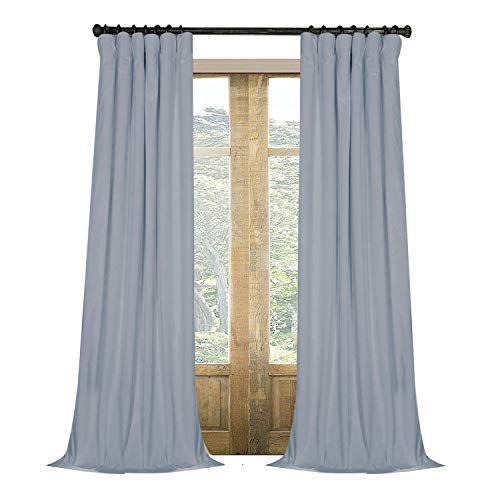 Artdix Blackout Curtains Panels Window Drapes - Light Blue 100W x 108L Inches (2 Panels) Velvet Lined Back Tab Nursery Insulated Solid Thermal Custom Curtains for Bedroom, Living Room, Kids ()