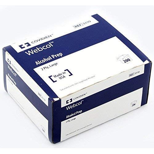 Image of All-Purpose Cleaners Kendall 5110 Webcol Premium Alcohol Prep, Sterile, 2 Ply, Large (20 Boxes of 200)