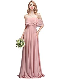 7810e893bae Strapless Chiffon Bridesmaid Dresses Long with Shoulder Ruffles for Women  Girls to Wedding Party Gowns