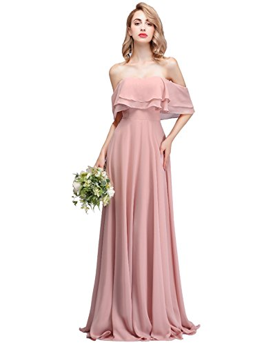 CLOTHKNOW Strapless Chiffon Bridesmaid Dresses Long Dusty Rose with Shoulder Ruffles for Women Girls to Wedding Party Gowns