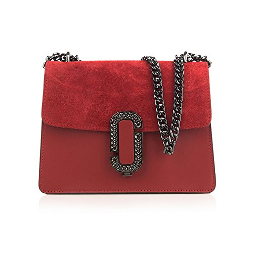 suede with bag accessory Baugette clutch GENEVRA smooth and chain and metal mini red flap leather qqTzS