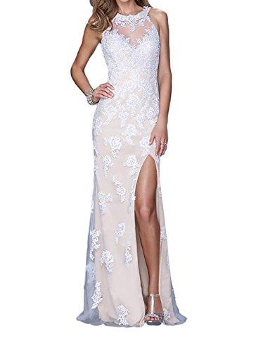 mit Royal Abendkleider Blau Trumpet Marie Braut Spitze Promkleider Partykleider Applikation Figurbetont Weiß La zqxHAgR