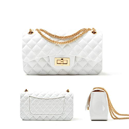 Ladies Chain Bag New Women's Bag Small Fragrance Quilt Jelly Pack Fashion Pouch Candy Trends Bright Face Small Square Bag,White