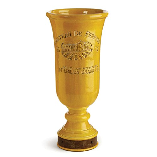 17.75'' French Style Mustard Yellow Handcrafted Printed Chalice Vase by CC Home Furnishings