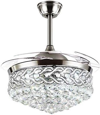 Fandian 42″ Modern Crystal Chandeliers Ceiling Fan