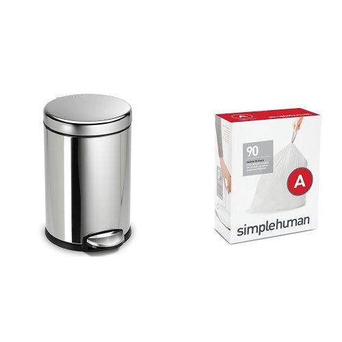 simplehuman 4.5 litre round step can fingerprint-proof polis