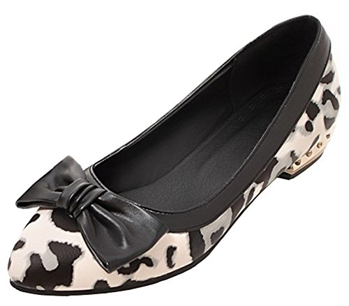 IDIFU Womens Casual Pointed Toe Slip On Leopard Flats Shoes With Bows White E8gpjQI8