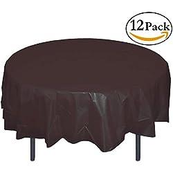 Exquisite 12-Pack Premium Plastic Tablecloth 84in. Round Table Cover - Black