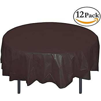 12 Pack Premium Plastic Tablecloth 84in. Round Table Cover   Black