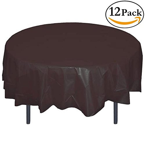 12-Pack Premium Plastic Tablecloth 84in. Round Table Cover - Black (84 Round Plastic Tablecloth)
