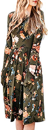 ZESICA Women's Long Sleeve Floral Pockets Casual Swing Pleated T-shirt Dress Olive X-Large