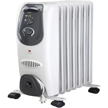 3 Heater Settings, Safety Tip-Over Switch, Adjustable Thermostat, 7-Fin Electric Radiator Heater, Gray Oil Filled Heaters