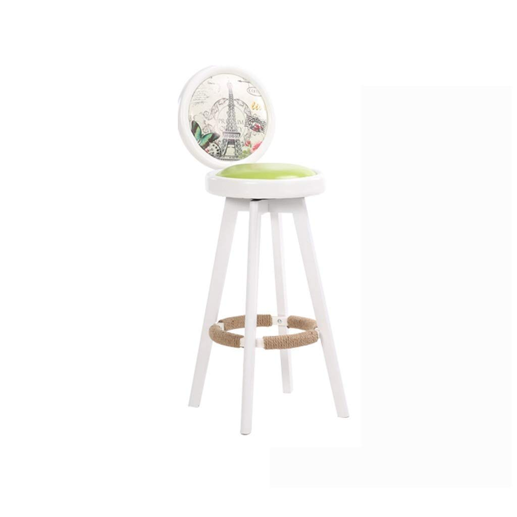 White Bar Chair Solid Wood Nordic Bar Stool Retro Creative Bar Chair redating High Stool Simple Home Europe and America FENPING (color   White)