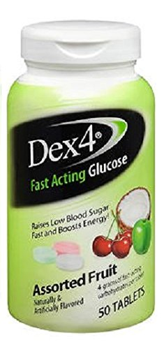 Dex Supplements - Dex4 Glucose Tablets, Assorted Fruit, 50 Count