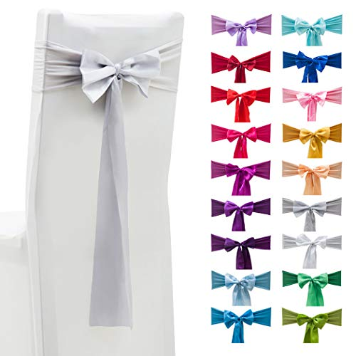 - ADUTY Satin Sash Chair Back Bow Elastic Bow Belt Elastic Stretch Spandex Chair Covers Banquet Wedding Special Party Decoration 10PCS (Sliver Grey)