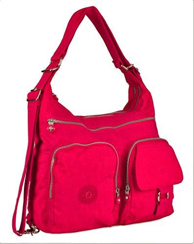 Handbag Backpack Hot Fabric Big Body Rainproof Shoulder Cross Convertible Messenger Pink Zip Pockets Shop Bag dqn0wOS