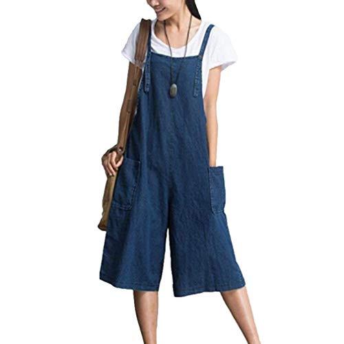 Retro Peto Damas Bolsillos Overoles Largo Total Jeans L Harem 2xl Ropa Pantalones Adelina Baggy Traje Casual Monos Con Blau Rq5wxERd