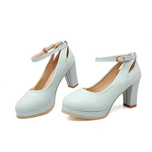 Balamasa Dames Boucle Talons Chunky Plate-forme Pompes En Microfibre Chaussures Bleu
