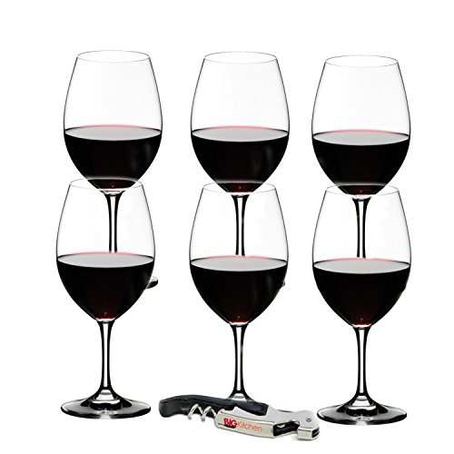 (Riedel Ouverture 6 Piece Red Wine Glass Set with Bonus BigKitchen Waiter's Corkscrew )