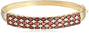 Yellow Gold-Plated Sterling Silver Garnet Bangle Bracelet, 7.5""