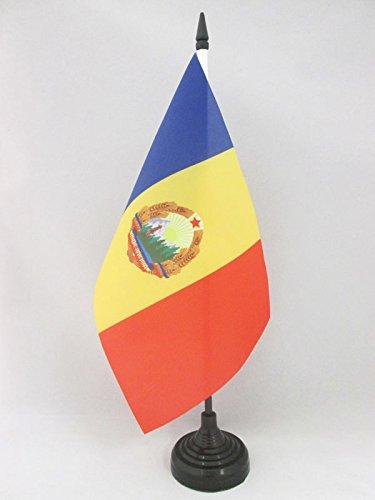 Piccola BANDIERINA RUMENA 14 x 21 cm AZ FLAG Bandiera da Tavolo Repubblica SOCIALISTA di Romania 1947-1989 21x14cm