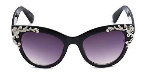 Eason Eyewear Women's Decorated Cat Eye Sunglasses 45 mm - Sunglasses Embellished