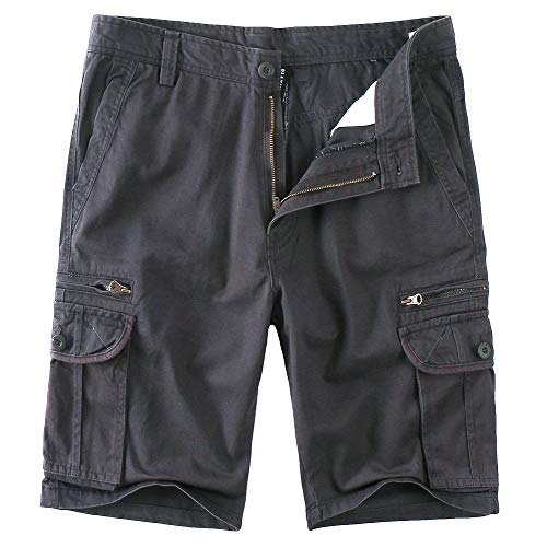 Cotton Solid Pockets Zipper - SAOVERE Cargo Shorts Zipper Pocket for Men Cotton Casual Relaxed Fit Multi-Pocket Big and Tall Dark Gray