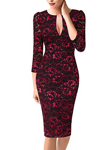 - VFSHOW Womens Deep V Neck Floral Lace Cocktail Party Bodycon Sheath Dress 1905 RED XS