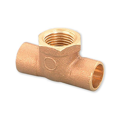 Everflow Supplies CCFT0012-NL C X C X F Lead Free Cast Brass Tee Fitting with Solder Cups and Female Threaded Branch, 1/2