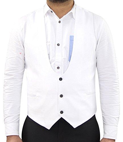 Men Ex Branded Horseshoe Waist Coat White 2XL