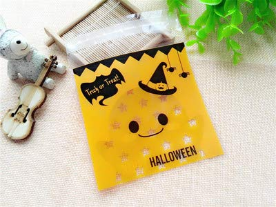 Autumn Water 20pcs 1010cm Cute Cookie&Candy Bag Treat Bags Pumpkin Bat printed Self Adhesive Plastic Bags for Halloween Party Supplies ()