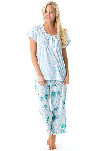 Casual Nights Women's Short Sleeve Embroidered Floral Capri Pajama Set - Green - 3X