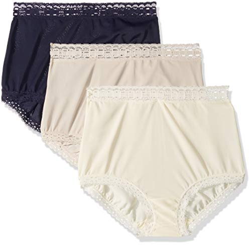 - Olga Women's Secret Hugs 3 Pack Brief Panty, Evening Blue/Butterscotch/Antique Ivory, L