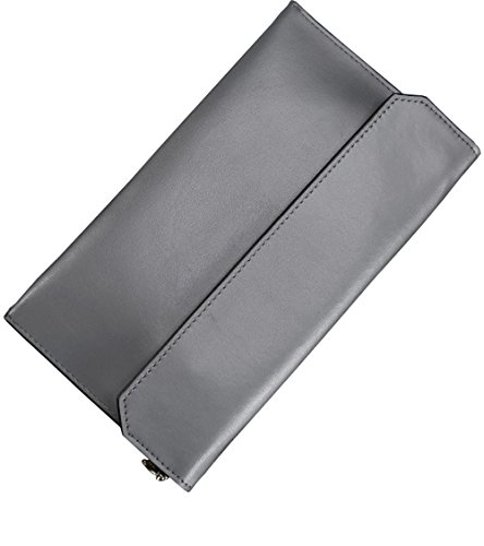 Covelin Women's Wristlet Clutch Handbag Genuine Leather Envelope Evening Shoulder Bags Grey
