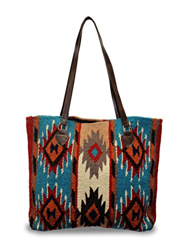 Wool Handbag Purse - Southwest Boutique Wool Tote Purse Bag Native American Western Style Handwoven (Cortez)