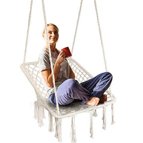 KINDEN Hammock Chair Macrame Swing - Square Ergonomic Comfortable Bohemian Design, Handmade Cotton Rope, Collapsible Easy to Install for Patio, Deck, Yard, Indoor Bedroom Garden Balconies [US Patent]